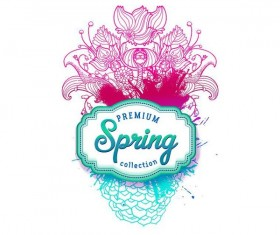 Hand drawn flower with spring label vector