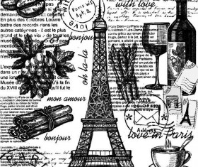 Hand drawn food with eiffel tower and text vector