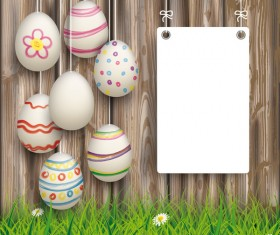 Hanging Easter Eggs Worn Wood White Board vecor