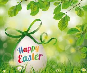 Happy Easter Egg Beech Twigs Flowers vector