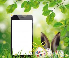 Happy Easter Eggs Smartphone Hare Ears vector