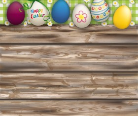 Happy Easter Eggs with wooden background vector