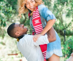 Happy couple expressing feeling Stock Photo