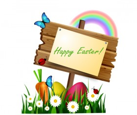 Happy easter wood sign with spring flower and rainbow vector