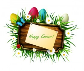 Happy easter wood sign with spring flower vector 01