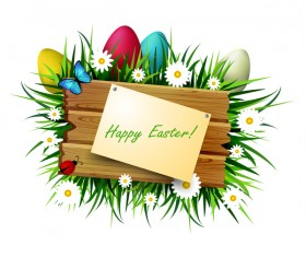 Happy easter wood sign with spring flower vector 02