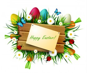 Happy easter wood sign with spring flower vector 03