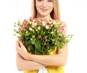 Happy girl holding a bouquet of roses Stock Photo 04