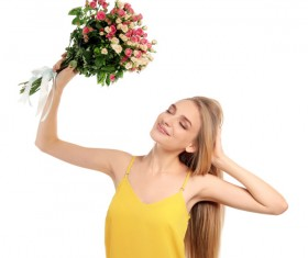 Happy girl holding a bouquet of roses Stock Photo 05