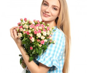 Happy girl holding a bouquet of roses Stock Photo 06