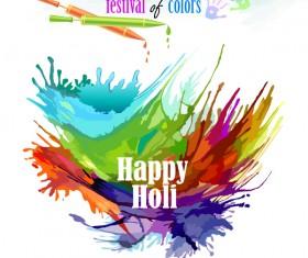 Happy holi festvial color abstract vector 02
