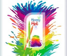 Happy holi festvial color abstract vector 03