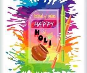 Happy holi festvial color abstract vector 04