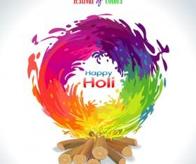 Happy holi festvial color abstract vector 05