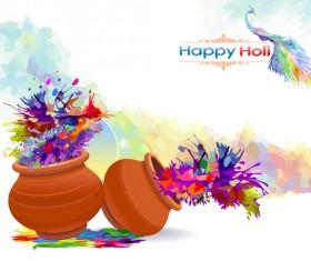 Happy holi festvial color abstract vector 06