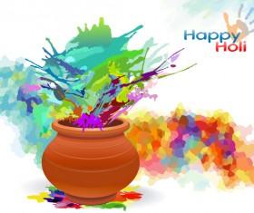 Happy holi festvial color abstract vector 07