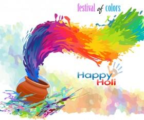 Happy holi festvial color abstract vector 09