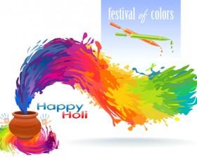 Happy holi festvial color abstract vector 10