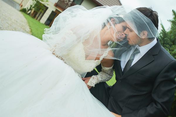 Happy newlywed couple Stock Photo