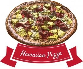 Hawaiian pizza hand drawn vector