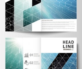 Hexagon design cover template magazine with flyer vector 01