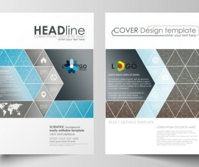 Hexagon design cover template magazine with flyer vector 02
