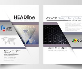 Hexagon design cover template magazine with flyer vector 03