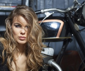 Hipster girl and motorcycle Stock Photo 05