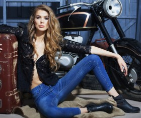 Hipster girl and motorcycle Stock Photo 06