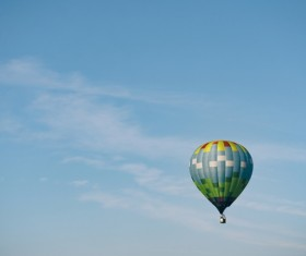 Hot air balloon flying Stock Photo