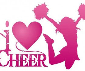 I Love cheer with jumping cheerleader vector