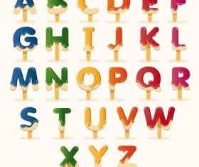 Ice cream alphabet vector