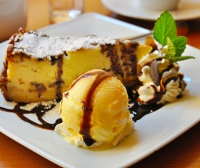 Ice cream and cake dessert Stock Photo 03