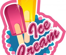 Ice cream label vector material 03