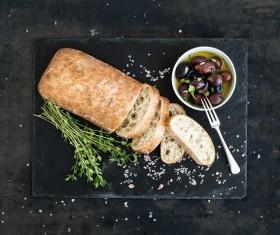 Italian ciabatta bread and olive oil Stock Photo