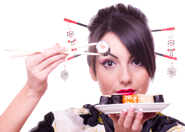 Japanese girl eating sushi Stock Photo 02