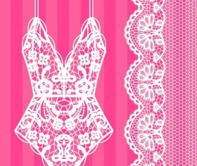 Lace border with lacy underwear vector 01