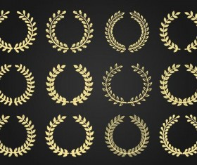Laurel wreath golden vector illustration 02
