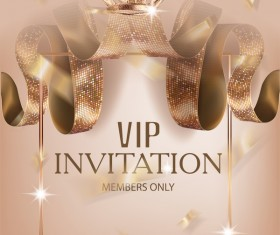 Luxury VIP invitation silk ribbons with beige background vector