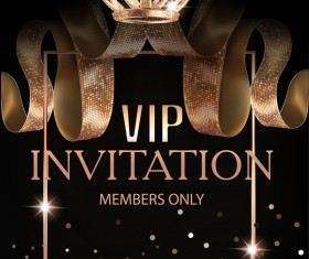 Luxury VIP invitation silk ribbons with black background vector