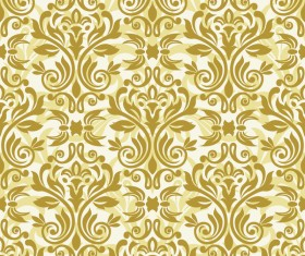 Luxury golden damask seampes pattern vector 01