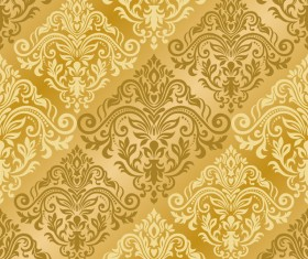 Luxury golden damask seampes pattern vector 02