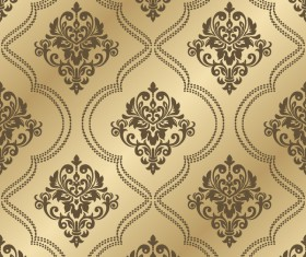 Luxury golden damask seampes pattern vector 03