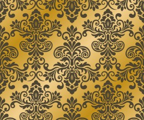 Luxury golden damask seampes pattern vector 04