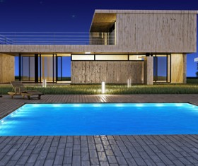 Luxury home with pool Stock Photo 01