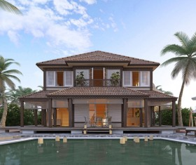 Luxury home with pool Stock Photo 05