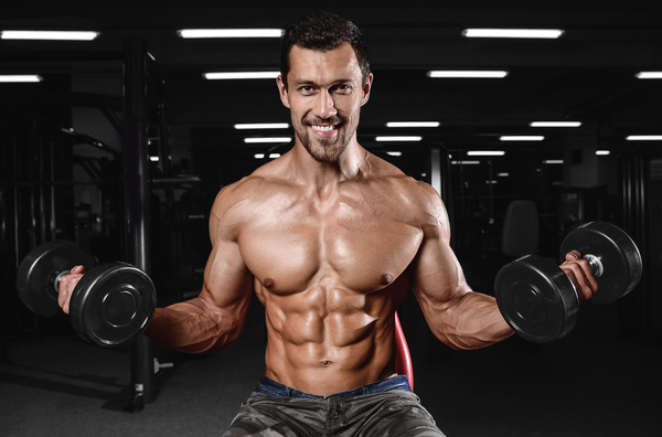 Man exercising biceps Stock Photo 02