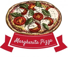 Margherita pizza hand drawn vector
