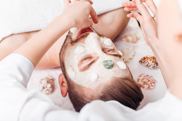 Mens mask skin care Stock Photo