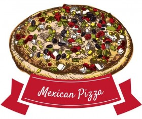 Mexican pizza hand drawn vector